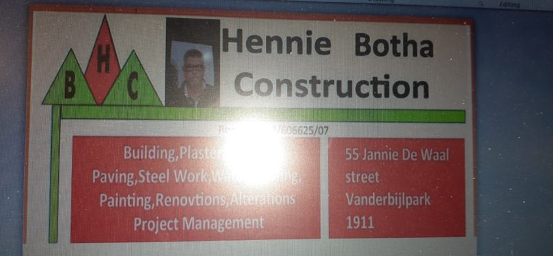 HENNIE BOTHA CONSTRUCTION (Pty) Ltd