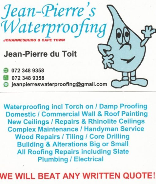 Jean-Pierre's Waterproofing and Roofing