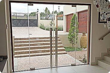 Frameless glass entrance doors